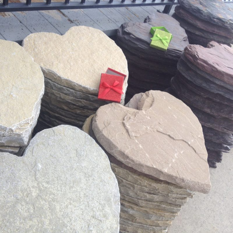 Heart Stepping Stones Tumbled  Limestone