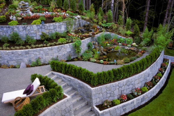 Sutherland Landscape impressive terraced yard uses retaining walls to manage steep property