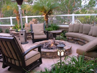 Sutherland Landscape backyard fire pit and patio design inspiration