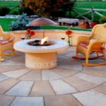 Sutherland Landscape fire pit, patio and retaining wall creates lovely seating area