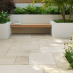 Natural stone paver patio style by Sutherland Landscape
