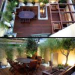 Stylish patio makes good use of a very small yard